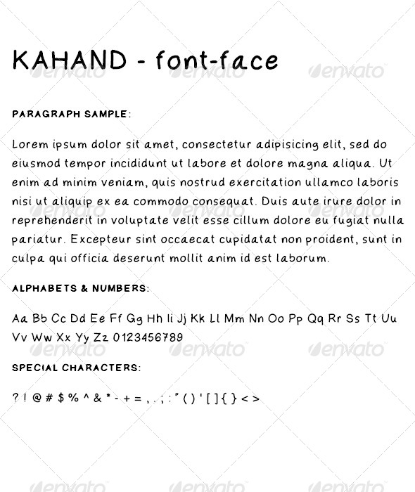 Kahand is a simple handwriting font designed to be clear legible and yet