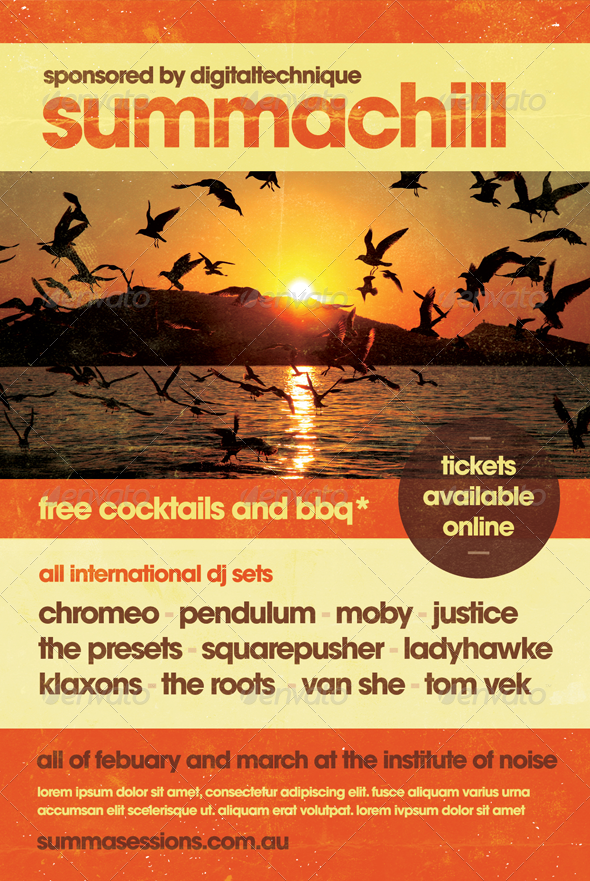 Summachill - Summer Flyer Template - Clubs & Parties Events