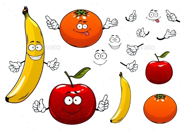 Cartoon Apple, Orange And Banana Fruits