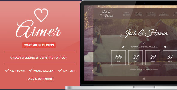 10 - Aimer - Wedding WordPress Theme For Lovers