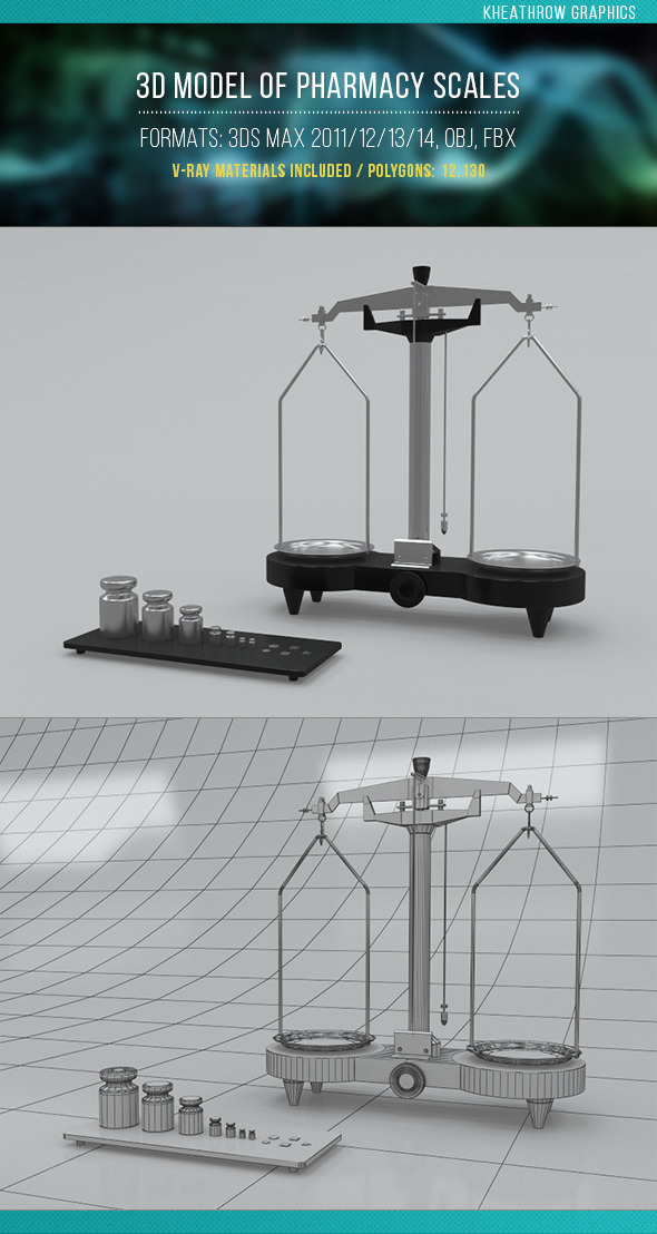 3d Model of Pharmacy Scales - 3DOcean Item for Sale