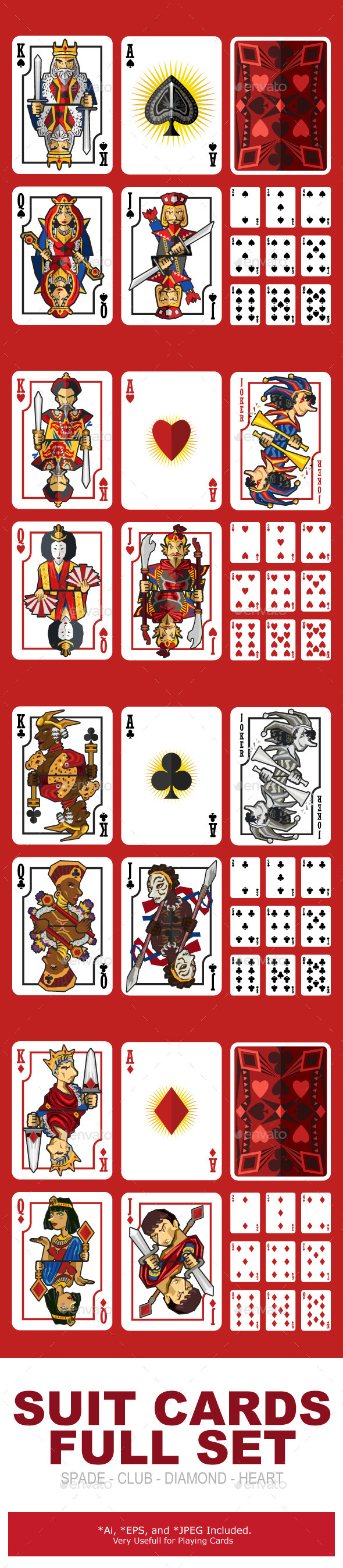 Suit Playing Cards Full Set