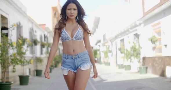 Bikini jean shorts Masturbation