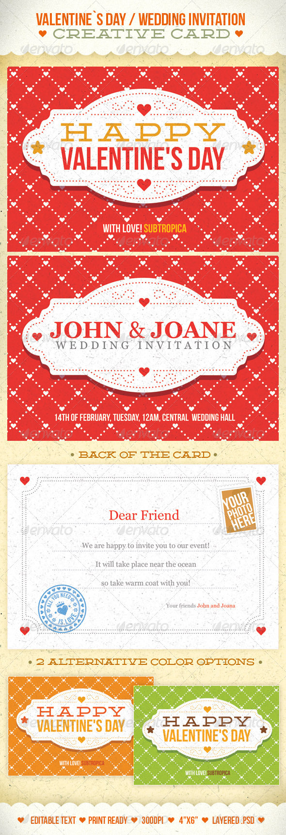 Valentine's Day And Wedding Invitation Postcard - Holiday Greeting Cards