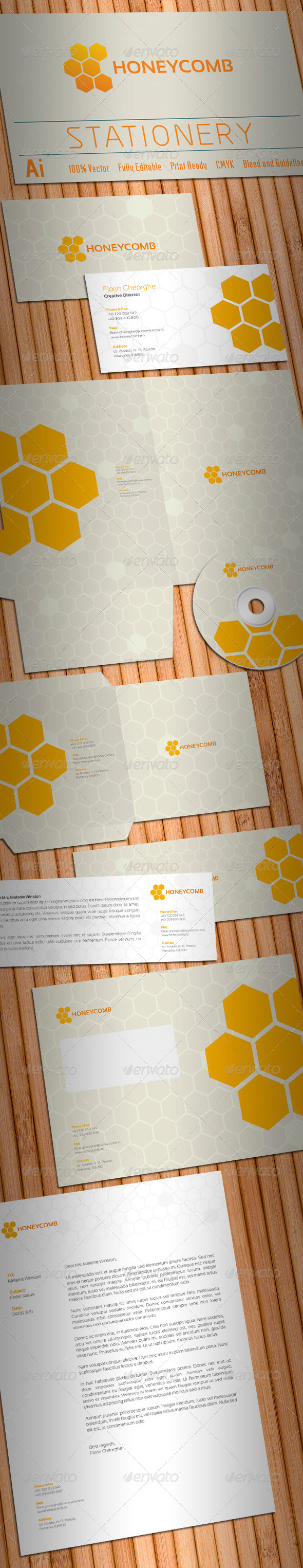 GraphicRiver Honeycomb Stationery 1270554