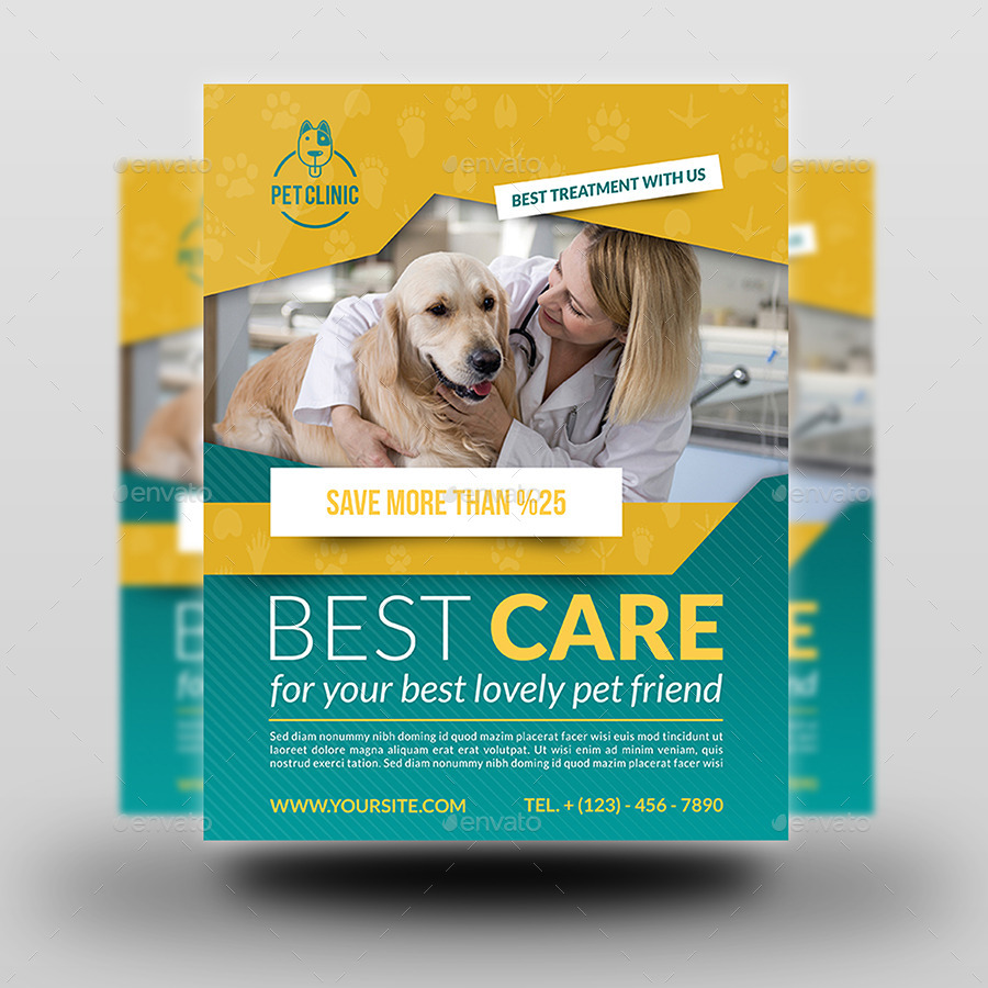 veterinarian clinic flyer template by owpictures graphicriver. Black Bedroom Furniture Sets. Home Design Ideas