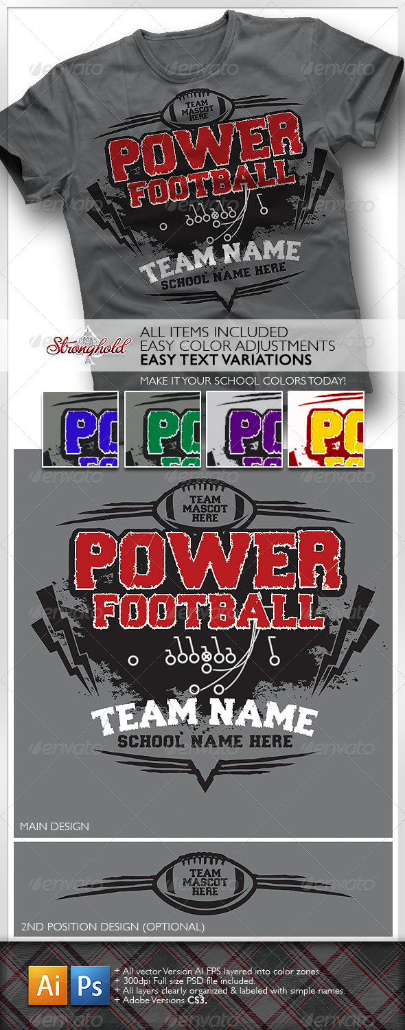 GraphicRiver Power Football T-Shirt 1267858