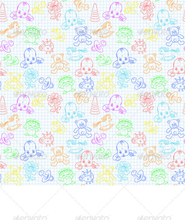 Vector Seamless Background with Baby and Toys - People Characters