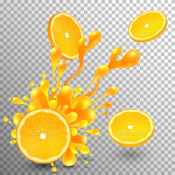 Orange Slice With Juice Splash On Transparent Grid