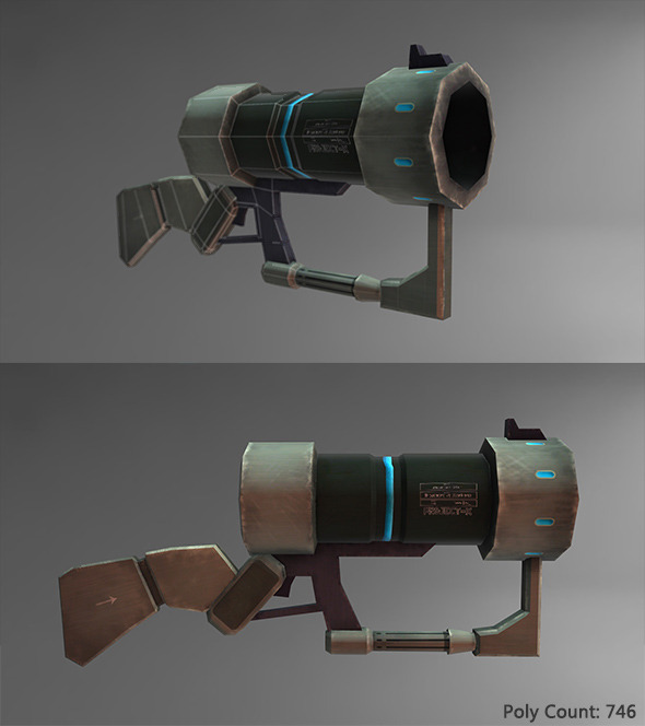 Low Poly Sci-fi Gun - 3DOcean Item for Sale
