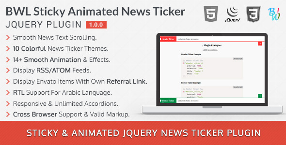 BWL Sticky Animated News Ticker jQuery Plugin