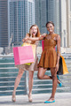Shopaholics on purchases. Two beautiful girlfriends in dresses h