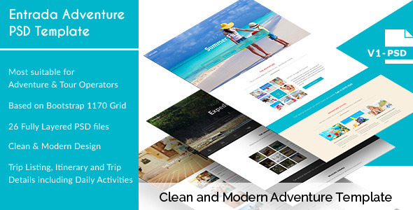 Entrada - Adventure and Tour PSD Template