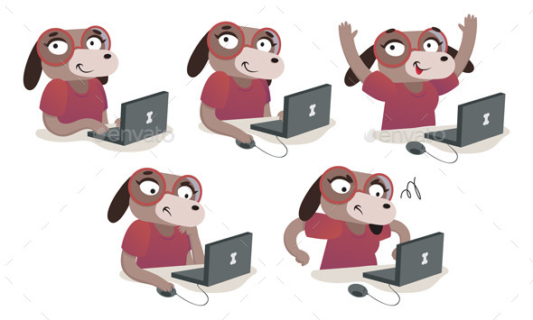 Nerd Dog Girl Using a Computer