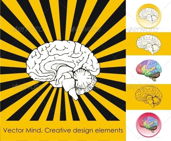 Human brain. Creative design elements. - Vectors