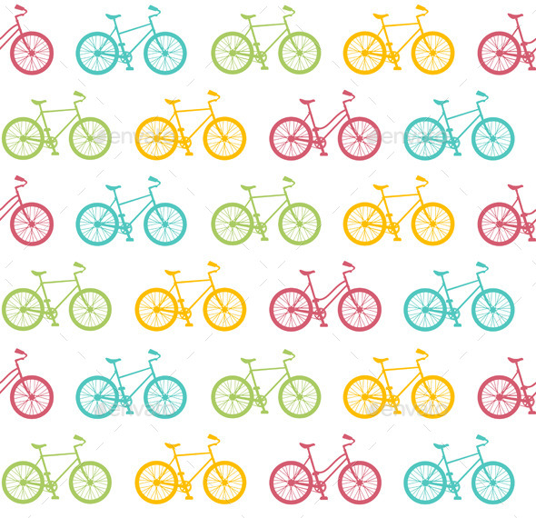 Bike Seamless Pattern White. Vector