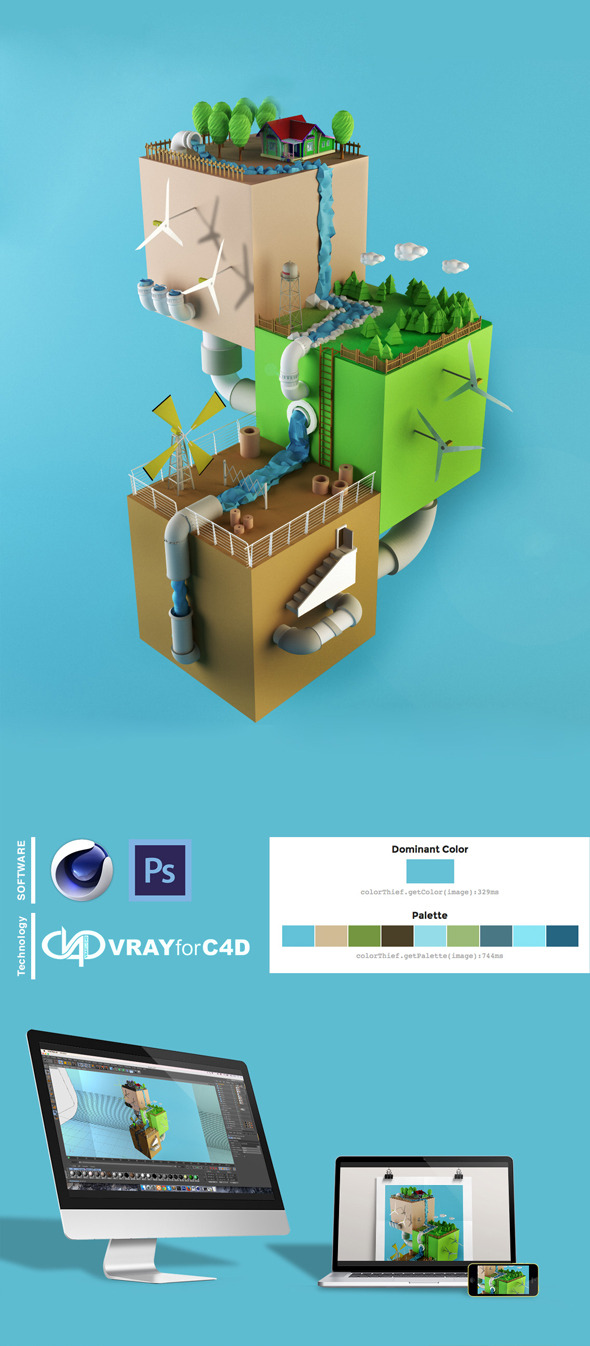 Low Poly Eco System - 3DOcean Item for Sale