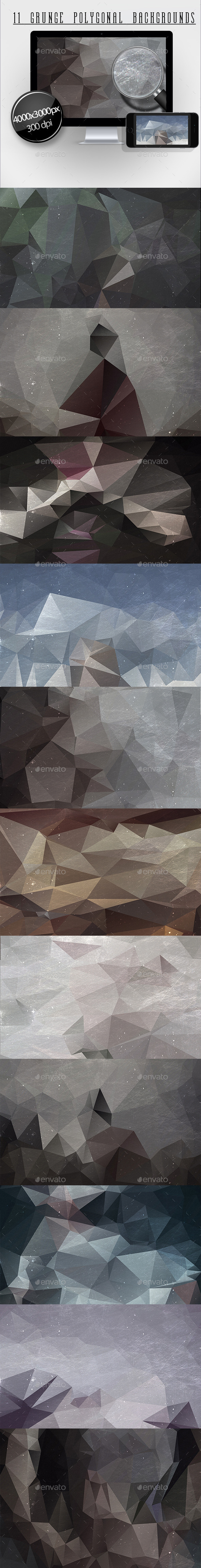 11 Grunge Polygonal Backgrounds