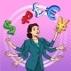 Businesswoman Juggling Money Business Concept