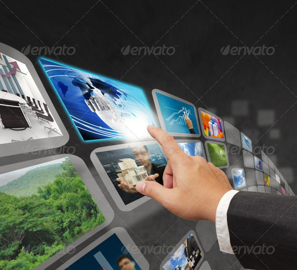 PhotoDune Businessman searching internet interface 1275848