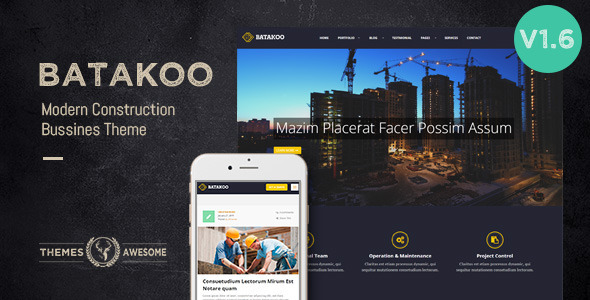 Download Batakoo - Modern Construction WP Theme nulled download