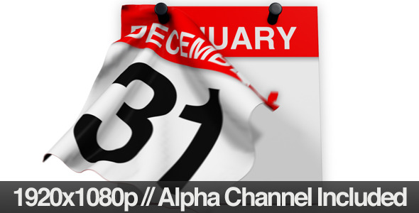 Calendar Revealing the New Year & Alpha Channel