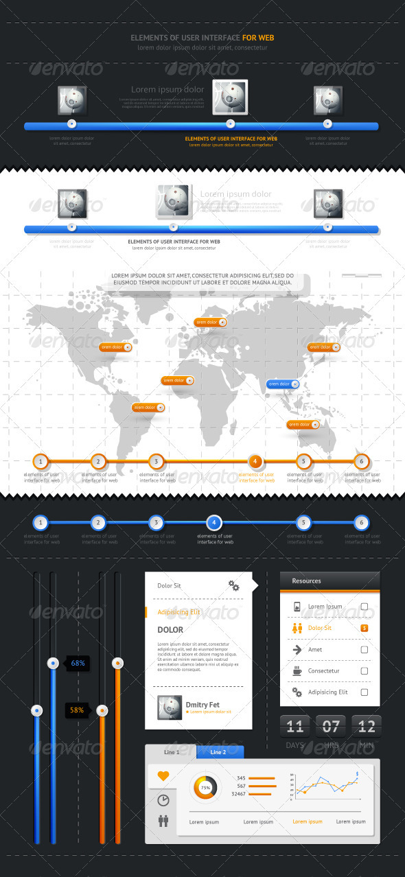 GraphicRiver Elements of Infographics with buttons and menus 1275345