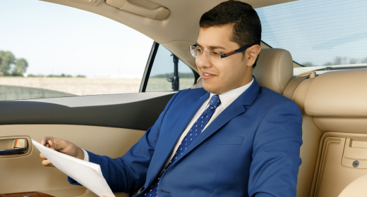 Businessman and his car