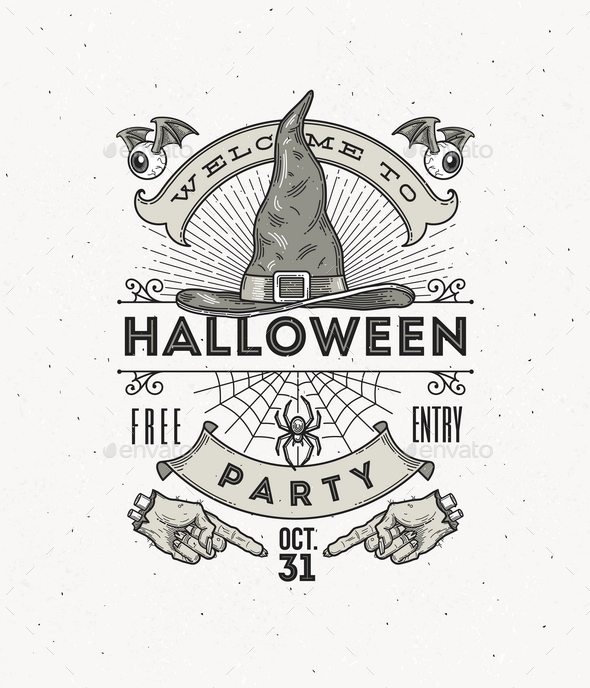 Line Art Vector Illustration for Halloween Party