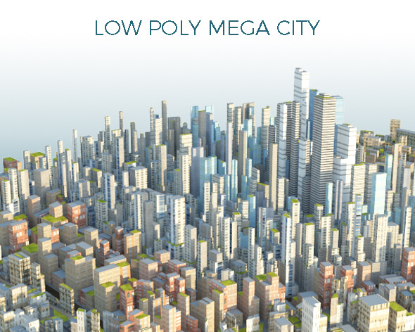 Low Poly Mega City With Textures - 3DOcean Item for Sale