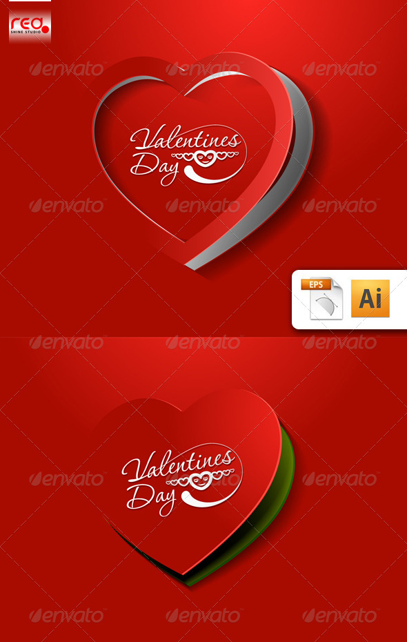 Valentine's day greeting card set - Valentines Seasons/Holidays
