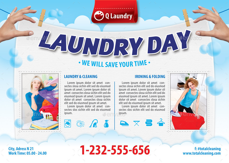Laundry Service Flyer Template 113 By 21min Graphicriver