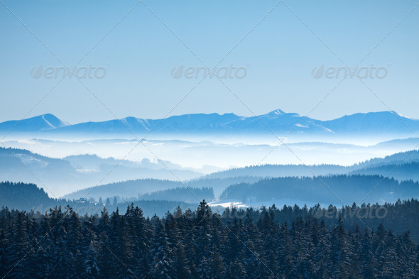 Morning winter calm mountain landscape - Stock Photo - Images