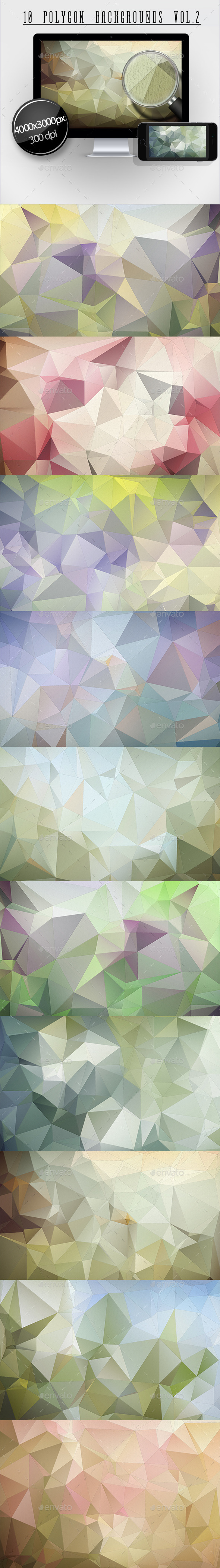 10 Polygon Backgrounds Vol.2