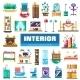 Set of Modern Flat Design Interior Icons