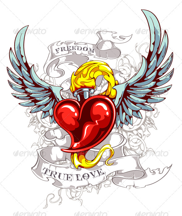 GraphicRiver Burning Heart with Wings 153954