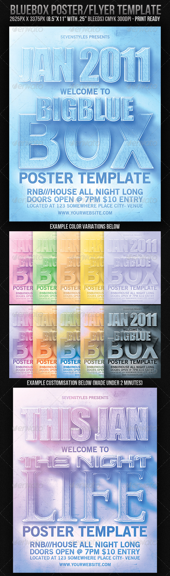 BlueBox Poster/Flyer Template - Clubs & Parties Events