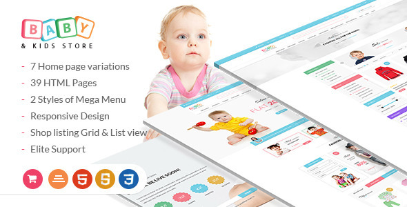 Baby & Kids Store eCommerce HTML Template with RTL Package