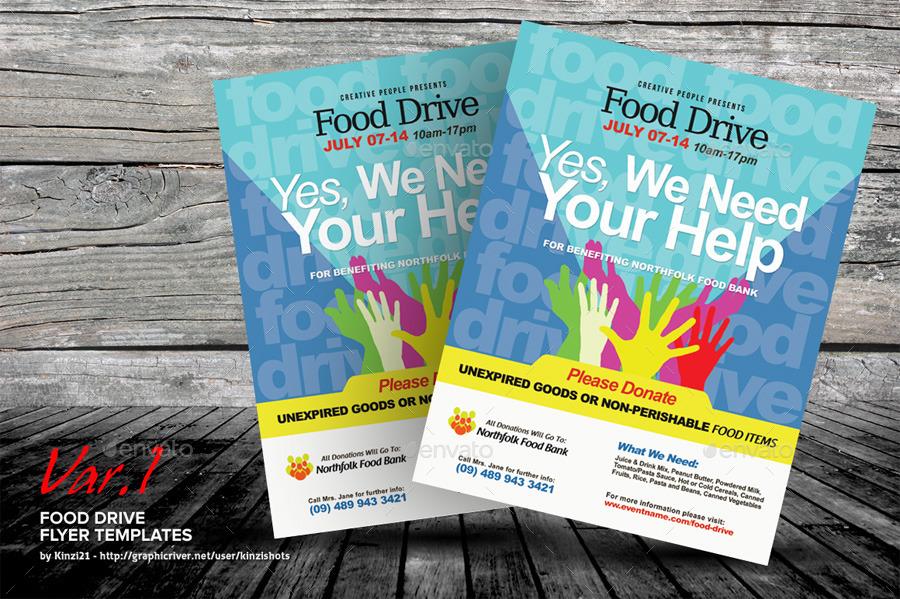 food drive flyer template by kinzishots