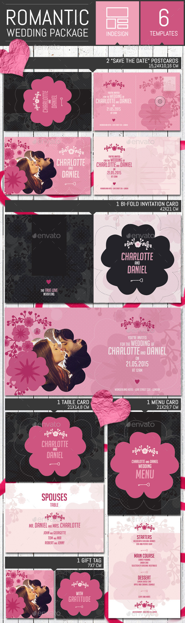 Romantic Wedding Invitation Pack Template