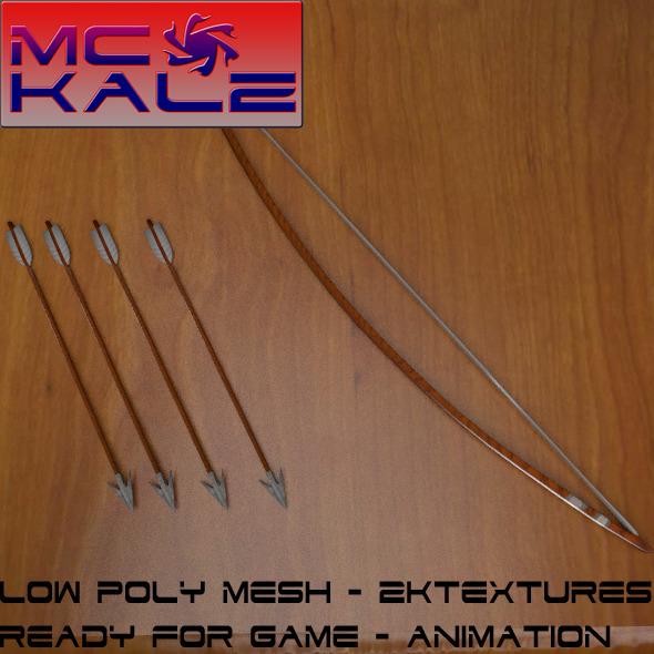 Wooden Bow + Arrow - 3DOcean Item for Sale