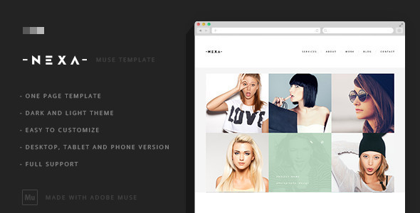 Nexa - Creative One Page Muse Template