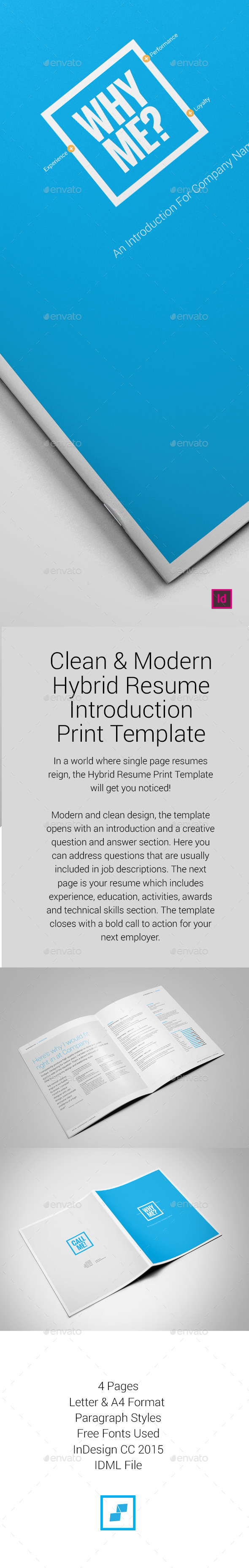 Hybrid Resume Print Template