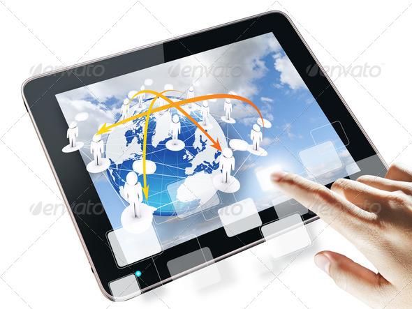 hand pushing on a touch screen interface - Stock Photo - Images