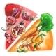 Food Color Wheel Watercolor Illustration