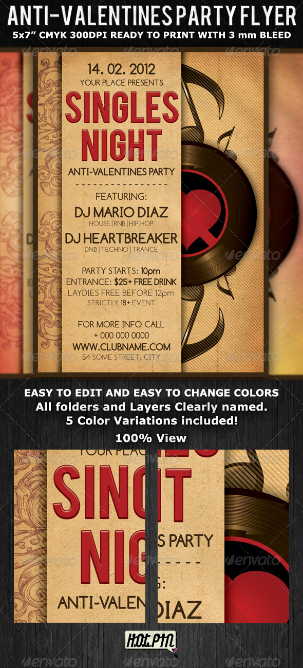 Singles Valentines Party Flyer Template - Clubs & Parties Events