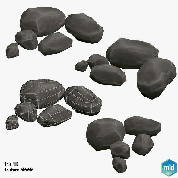 3DOcean Low Poly Rock Asset 12800999
