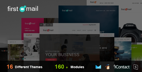 First Mail - 16 Theme Email Templates Set + Online Access