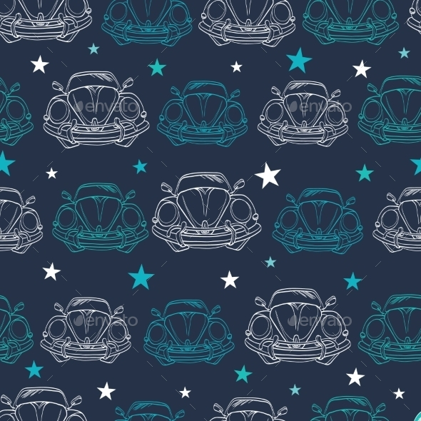 Vector Dark Blue Vintage Cars Stars Drawing