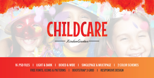 Child Care - Children & Kindergarten PSD Template